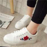 Women Sneakers Rose Walking Shoes Outdoor PU Casual Flats Sneakers For Woman