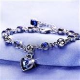 Women Ocean Blue Crystal Rhinestone Heart Bangle BraceletDJA-562972