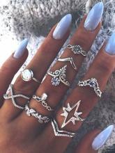Ten Piece Simple Diamante Ring Set