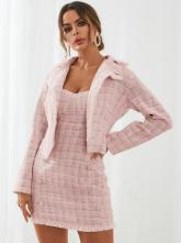 YOINS Tweed Plaid Button Design Top & Mini Dress Set